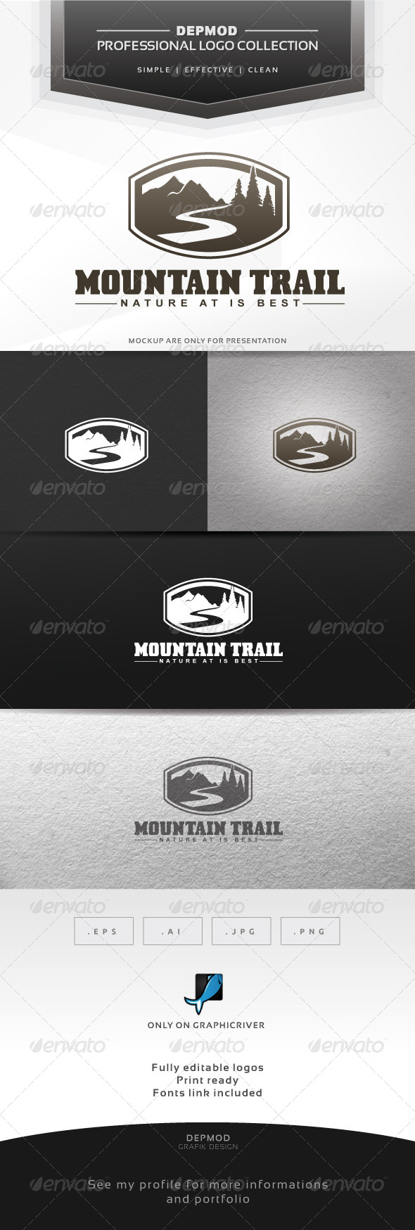 Mountain Trail Logo - Nature Logo Templates