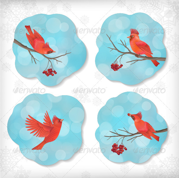 Winter Christmas Sticker Birds Rowan Tree Branches - Seasons Nature