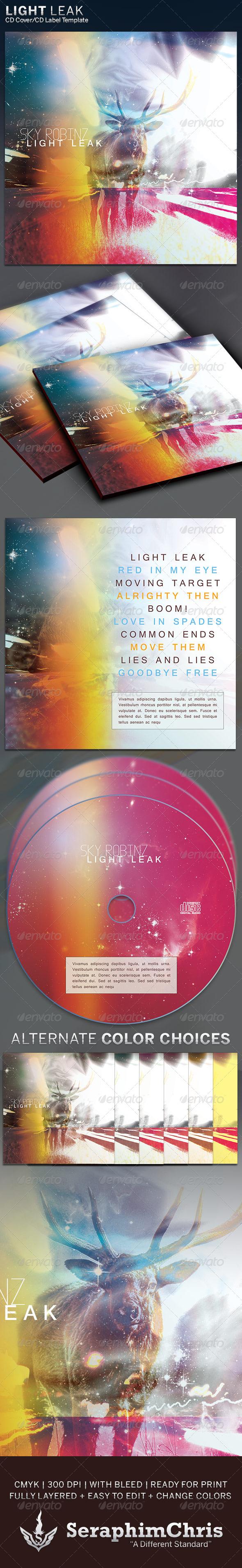 Light Leak: CD Cover Artwork Template - CD & DVD Artwork Print Templates