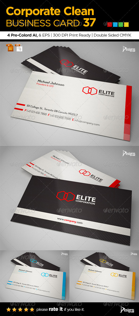 Corporate Clean Business Card 37 - Corporate Business Cards