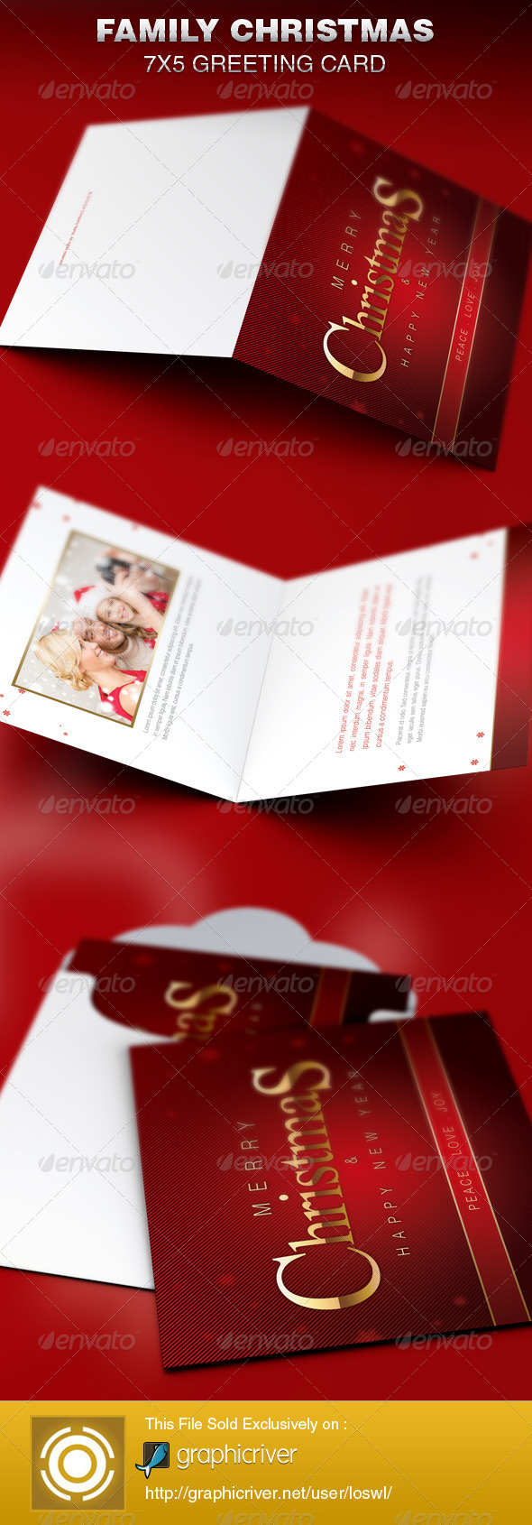 Family Christmas Greeting Card Template - Greeting Cards Cards & Invites