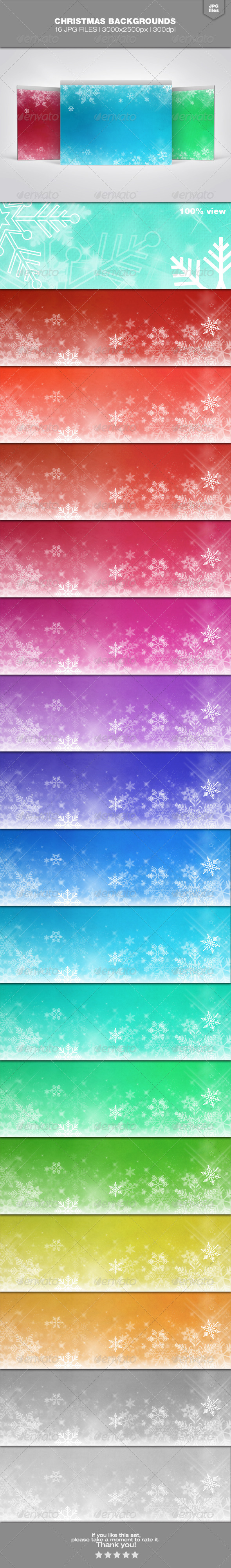 Christmas Backgrounds Set 2 - Backgrounds Graphics