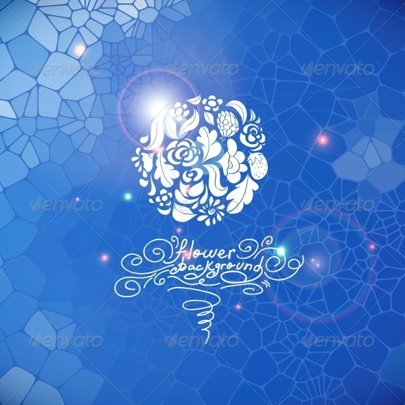 Blue Print Background with Circle Flowers - Patterns Decorative