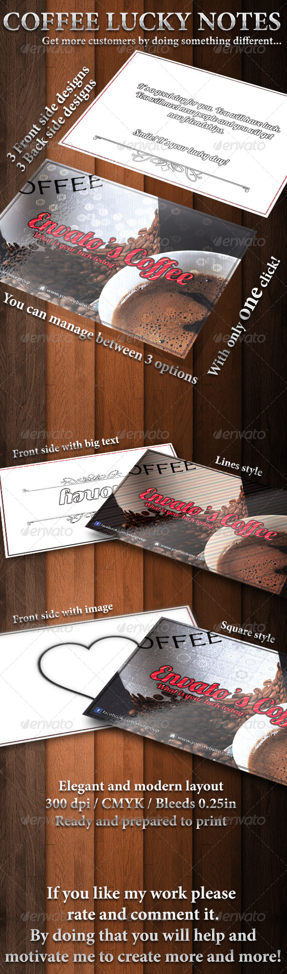 Coffee lucky notes - Cards & Invites Print Templates