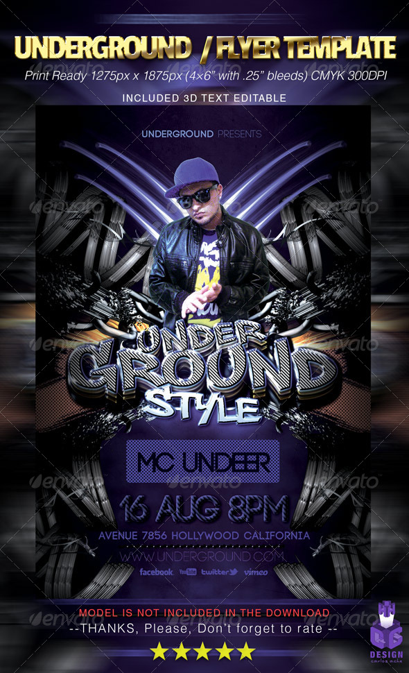 Underground / Flyer Template - Clubs & Parties Events