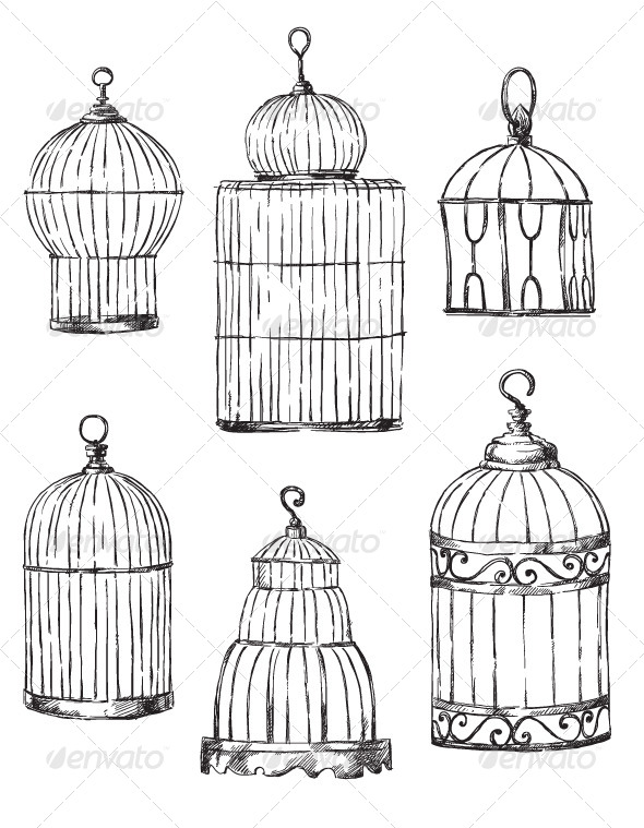 Set of Different Cages, Hand-Drawn - Objects Vectors