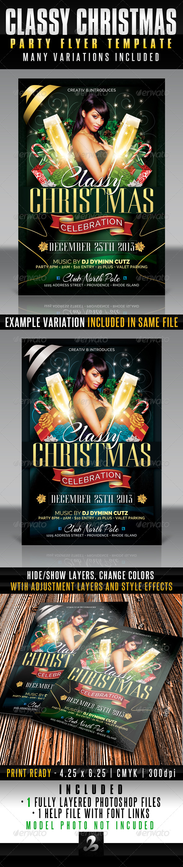 Classy Christmas Party Flyer Template - Holidays Events