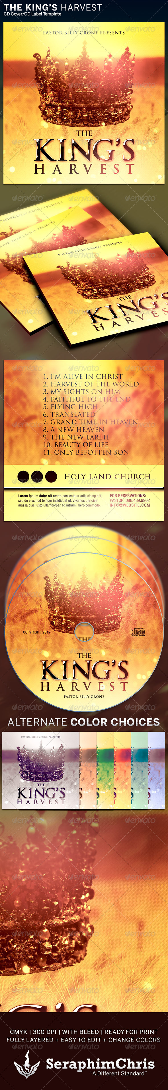 This King's Harvest: CD Cover Artwork Templa - CD & DVD Artwork Print Templates