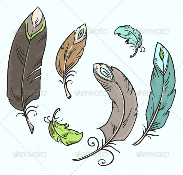 Ffeathers. Cartoon Drawing. Vector Illustration - Decorative Vectors