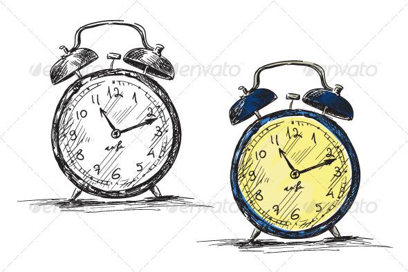 Retro Clock Vector Illustration - Objects Vectors