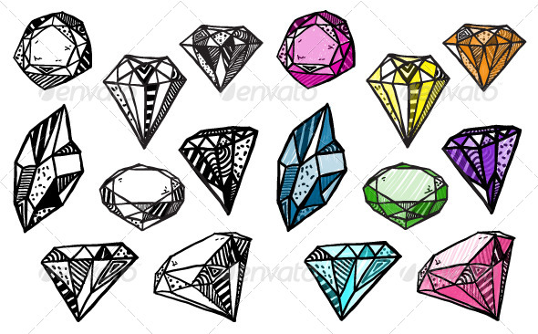 Diamonds Set of Doodle Crystals - Organic Objects Objects