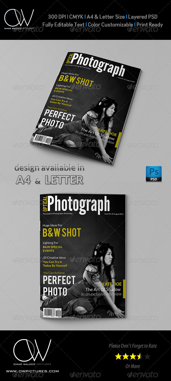 Photograph Magazine Cover - Magazines Print Templates