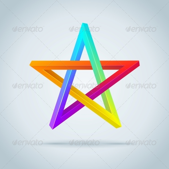 Colorful Inconceivable Pentagram. - Religion Conceptual