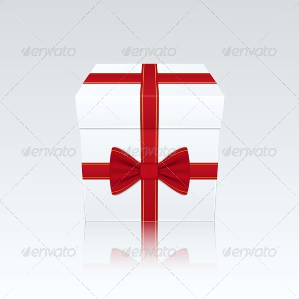 Closed White Gift Box with Red Bow - Birthdays Seasons/Holidays