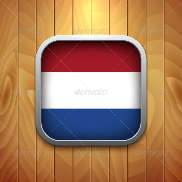 Rounded Square Dutch Flag Icon on Wood Texture. - Health/Medicine Conceptual