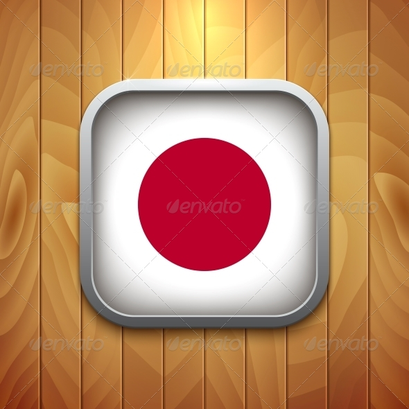 Rounded Square Japan Flag Icon on Wood Texture. - Retail Commercial / Shopping