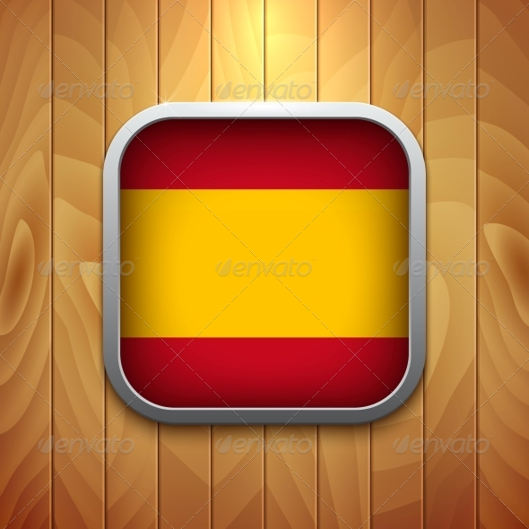 Rounded Square Spain Flag Icon on Wood Texture. - Retail Commercial / Shopping