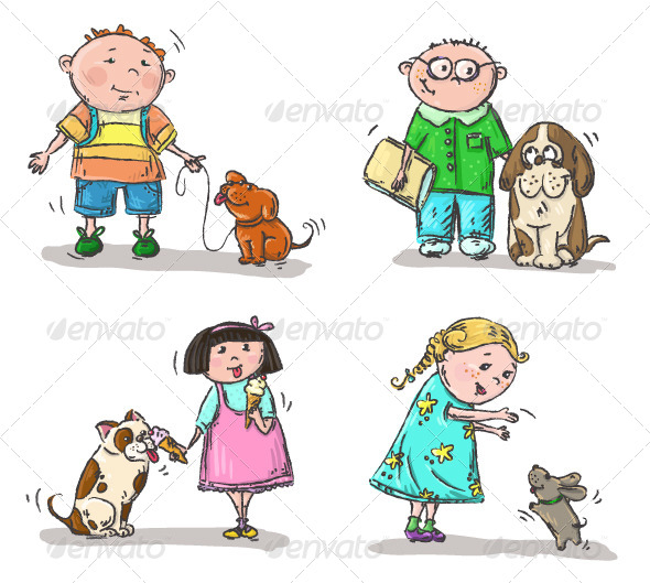 Children with Their Dogs - People Characters