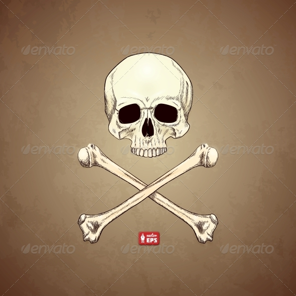 Human Skull and Bones on Old Paper Background. - Tattoos Vectors
