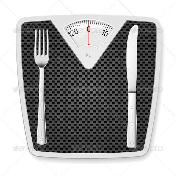 Bathroom Scales with Fork and Knife. - Miscellaneous Vectors