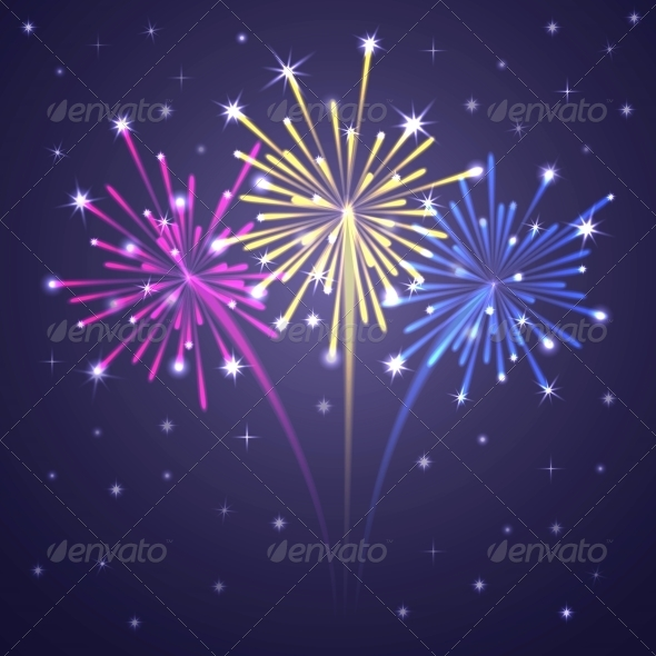 Colorful Illuminated Fireworks. - Birthdays Seasons/Holidays