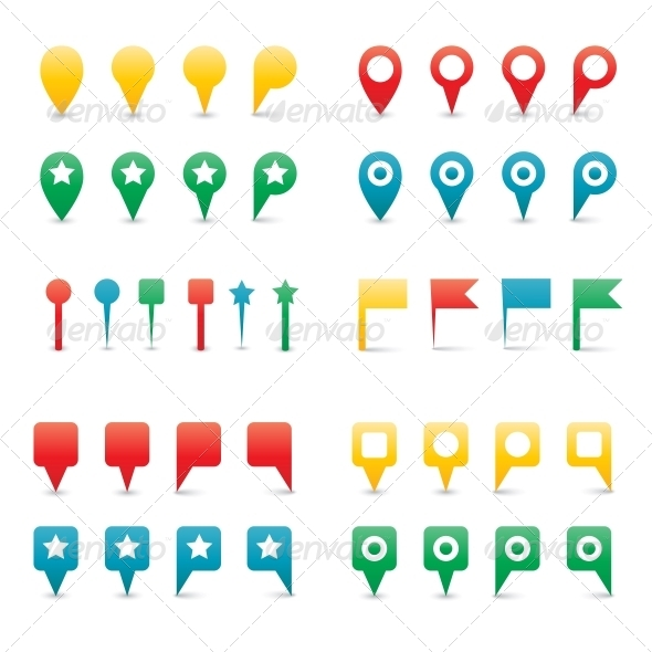 Colorful Map Pins. - Web Technology