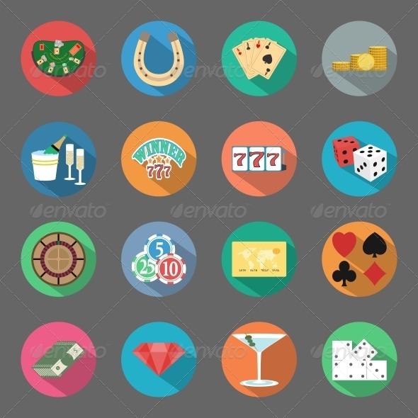 Casino Flat Icons Set - Web Elements Vectors