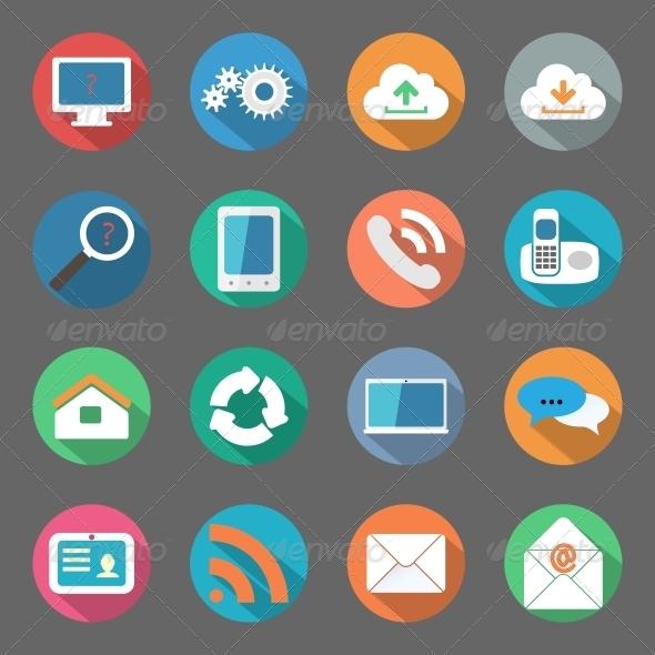 Communication Icons Set Flat Design - Web Elements Vectors