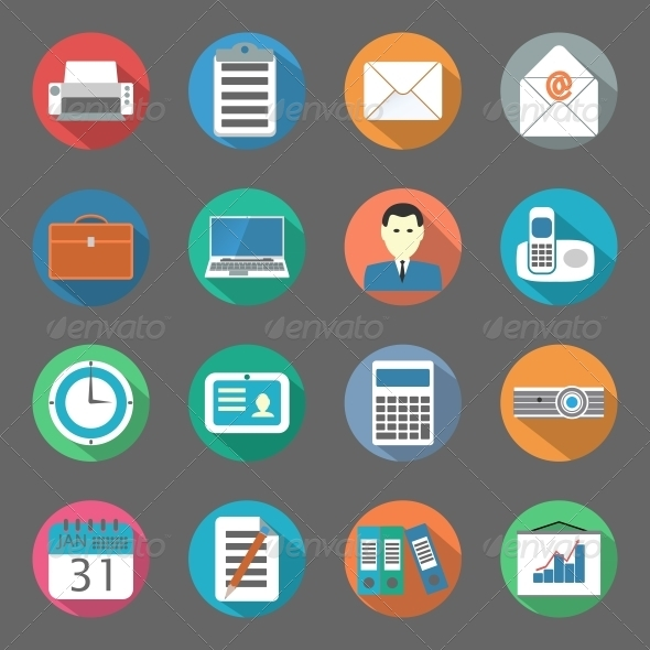 Office Flat Icons Set - Web Elements Vectors