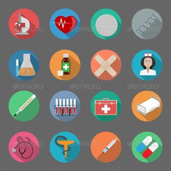 Medicine Flat Icons Set - Web Elements Vectors