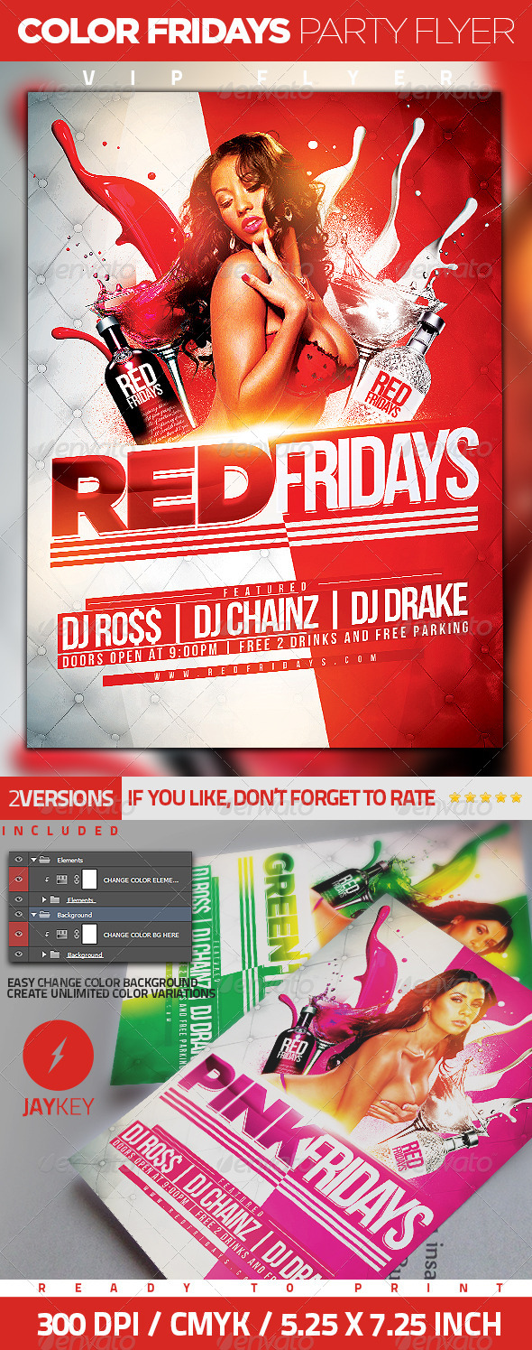 Color Fridays Party Flyer - Clubs & Parties Events