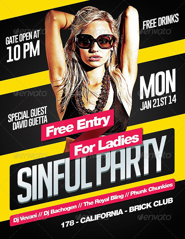 Sinful Party - PSD Flyer Template - Clubs & Parties Events