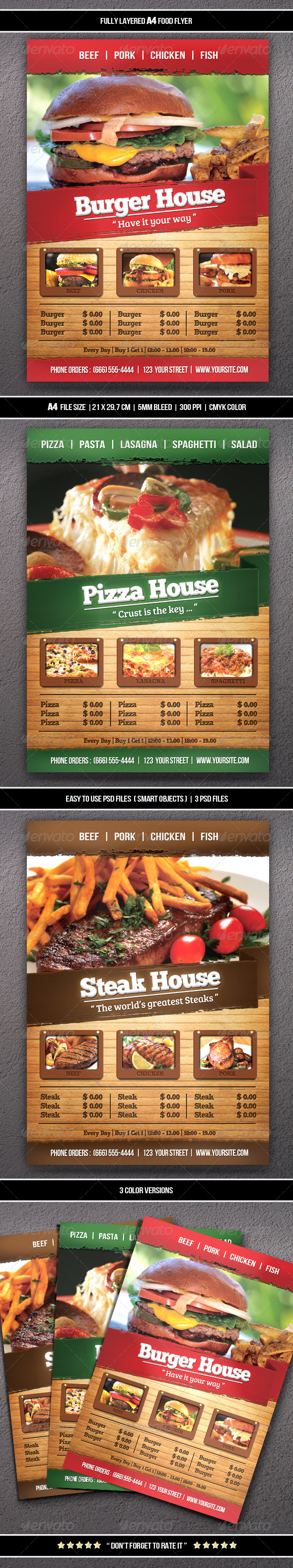 Food Flyer (A4) - Restaurant Flyers