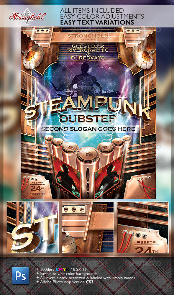 Steampunk Dubstep Event Flyer Template By Getstronghold  Graphicriver