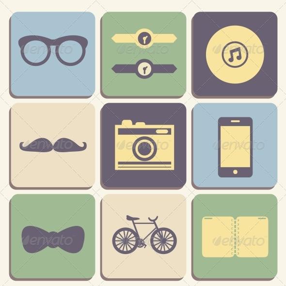 Hipster Icons Set - Web Elements Vectors