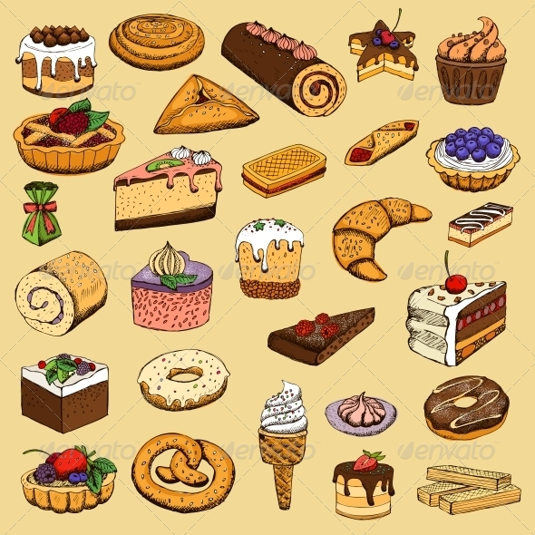 Collection of Sweet Pastries - Food Objects