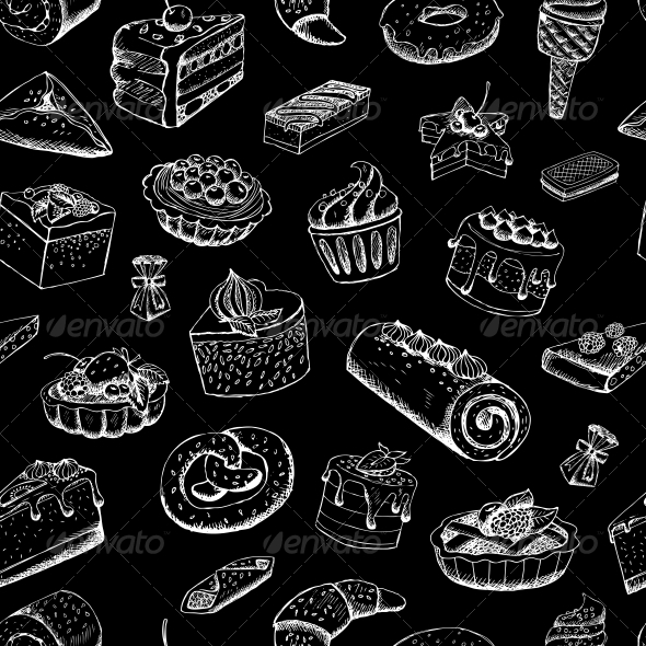 Sweet Pastries on Chalkboard - Backgrounds Decorative