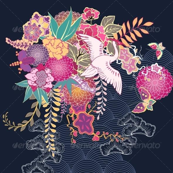 Decorative Kimono Floral Motif - Decorative Symbols Decorative