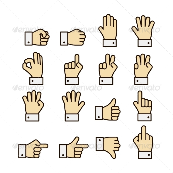 Hand Gestures Icons Set, Contrast Color - Web Technology