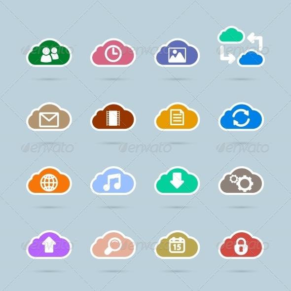 Set of Cloud Technology Icons - Web Technology