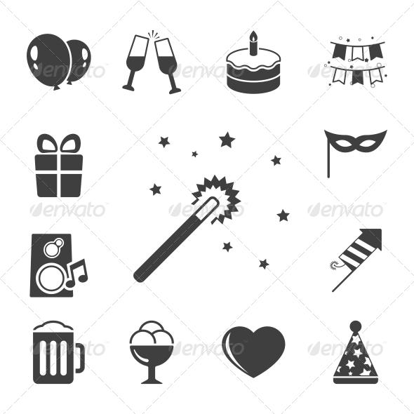 Celebration Icons Set, Contrast Flat - Web Elements Vectors