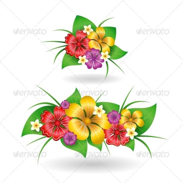 Tropical Flowers Decor Elements - Flowers & Plants Nature