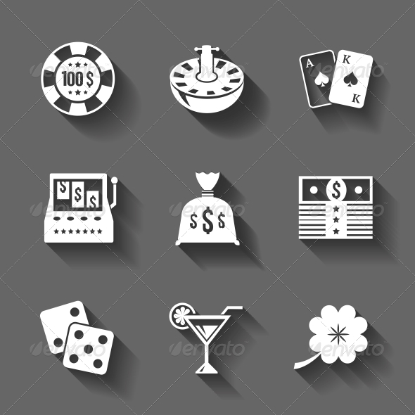 Gambling Icons Set Isolated, Contrast Shadows - Web Technology