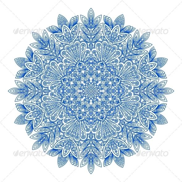 Ornamental Round Snowflake Pattern - Decorative Symbols Decorative