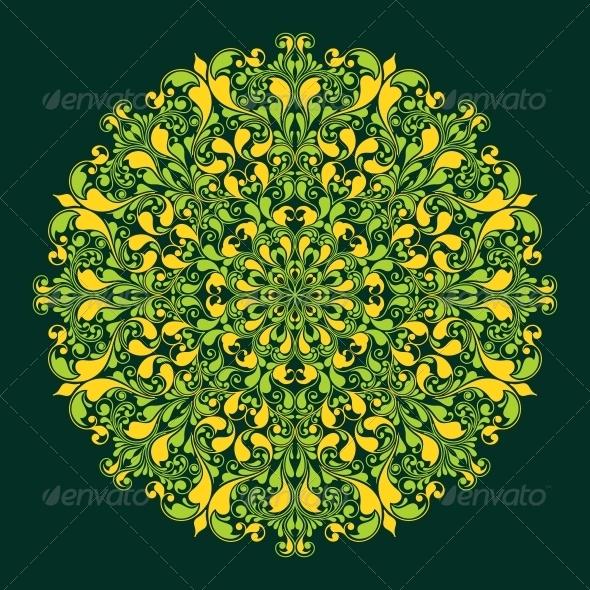 Round Pattern in Islamic Style - Decorative Symbols Decorative