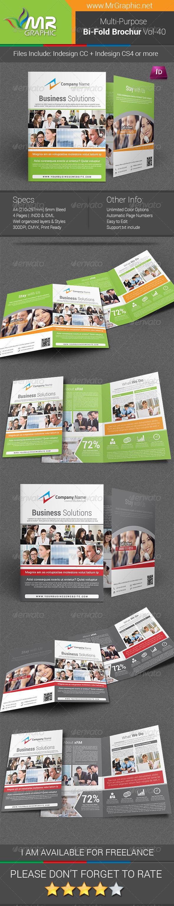 Multipurpose Bi-fold Brochure Template Vol-40 - Corporate Brochures