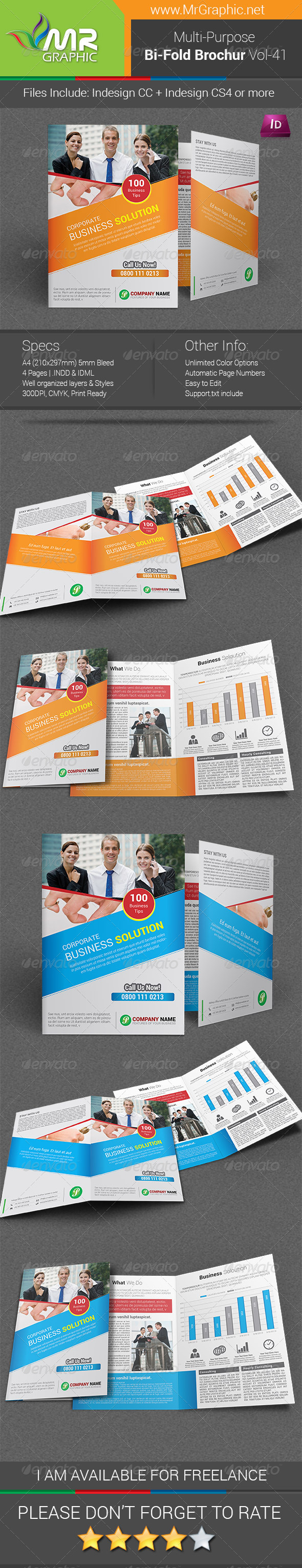Multipurpose Bi-fold Brochure Template Vol-41 - Corporate Brochures