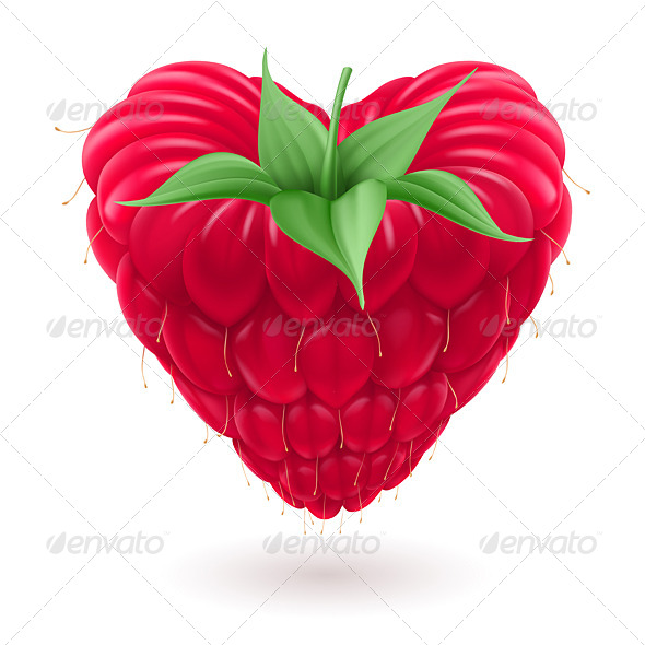 Raspberry in Heart Shape. - Food Objects