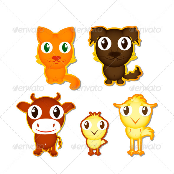 Sticker with the Cartoon Animals - Animals Characters