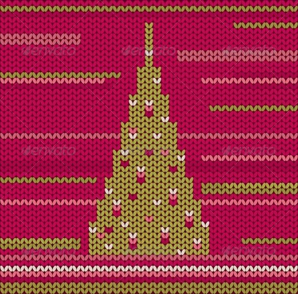 Knitted Christmas Tree - Christmas Seasons/Holidays